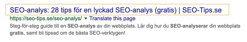 Title tag (SEO-titel) syns i Google sökresultaten.