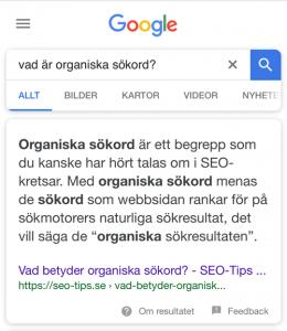 Utvalda utdrag i Googles sökresultat (featured snippets)