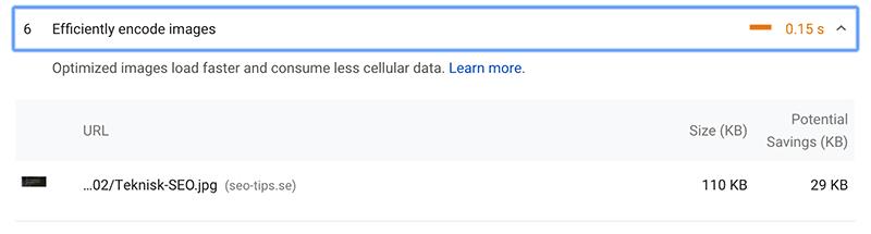 SEO-analys av bildstorlek med Google Page Speed Insights verktyget.