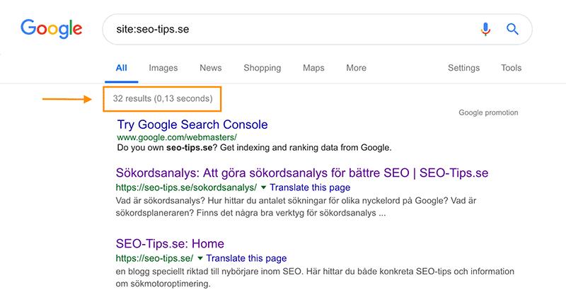 Exempel på seo-analys: Att hitta indexerade sidor på Google.