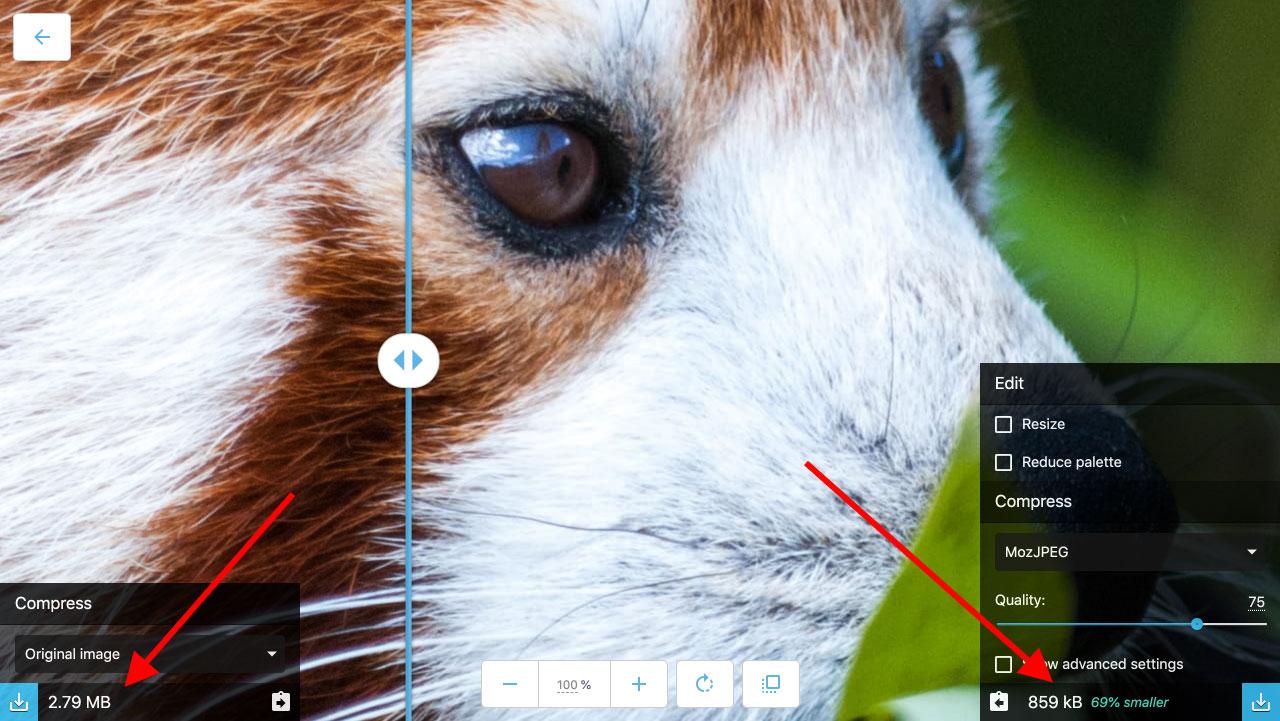 Exempelbild på Squoosh komprimeringsverktyget.