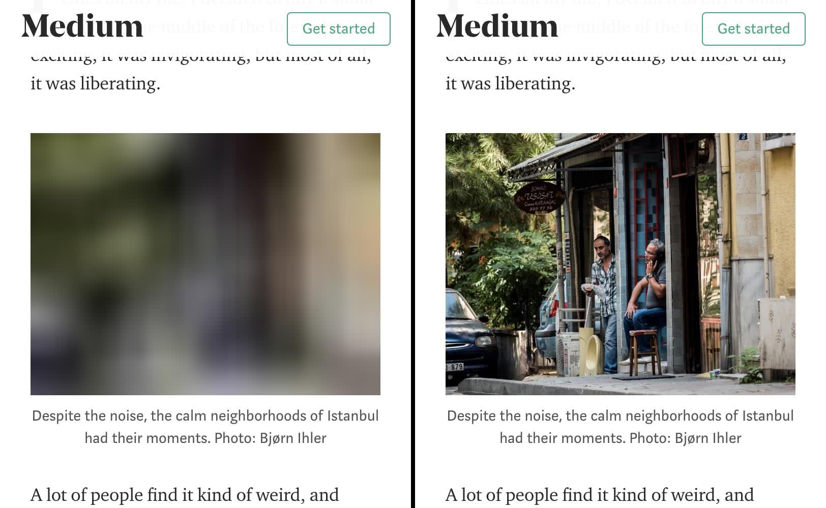 Lazy loading exemplifierat med en skärmdump på Mediums hemsida, från Goog