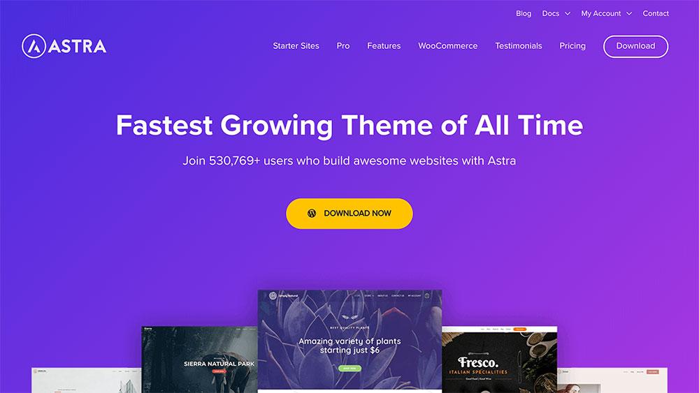 Astra WordPress tema (skärmdump på webbsida)