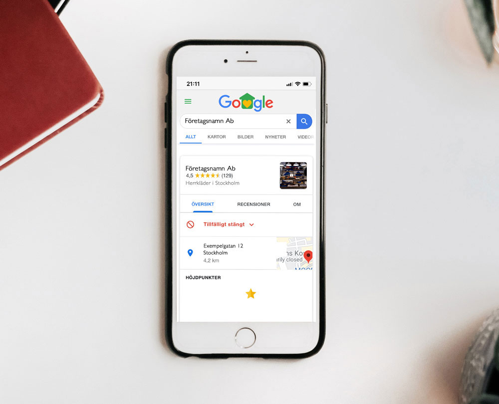 Så ser Google My Business profilen ut på mobiltelefon